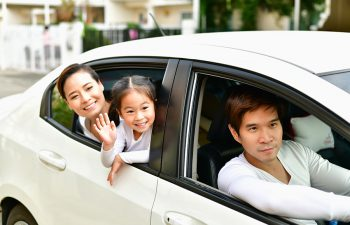 Parents and Daughters are driving safely on a safe route.
